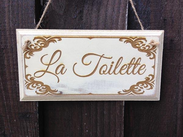 Shabby chic la toilette sign antique white for Toilette shabby chic