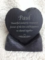 slate heart memorial in stand