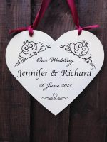 wooden wedding heart sign personalised