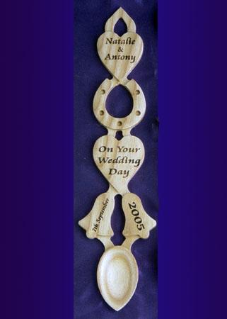 Engraved Wedding Welsh Love Spoon J82 Personalised