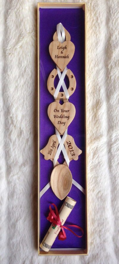 engraved welsh love spoons