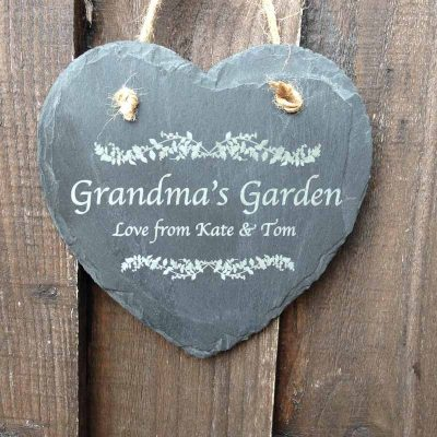 garden sign in slate heart 1w