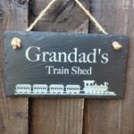 slate garden shed sign with train