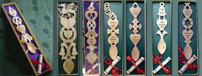 welsh love spoons in gift box