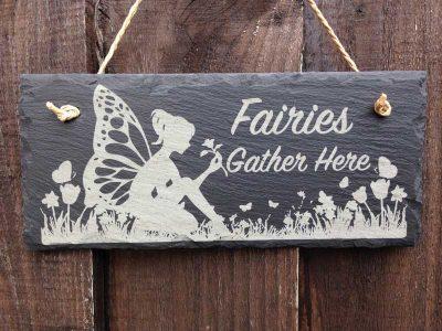 fairies gather here signs garden