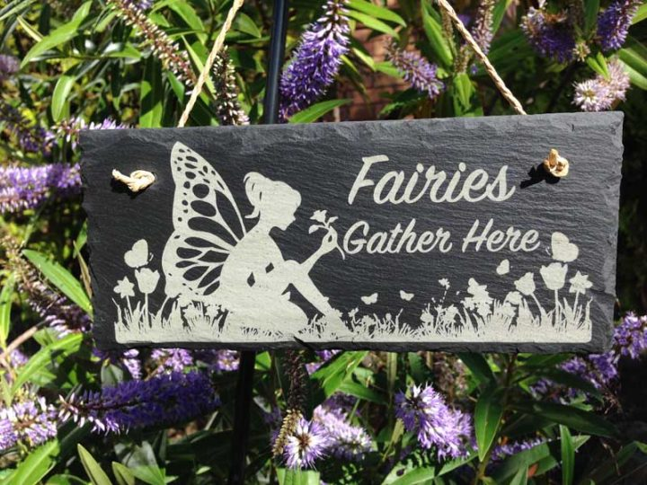 Fairy Garden Signs on Rustic Log Home Kitchen Designs