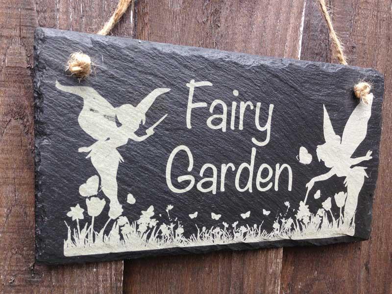 Garden Sign Fairy Garden In Slate Personalised Garden