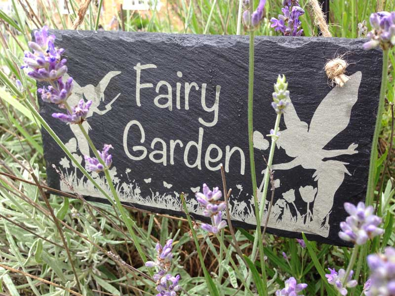 Garden Sign Fairy Garden In Slate Personalised Garden