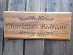 personalised oak bedroom door signs dark