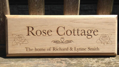personalised oak sign rose