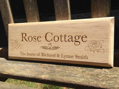 personalised oak sign rose cottage 1