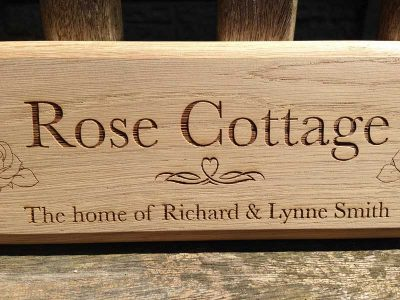 personalised oak sign rose cottage 3