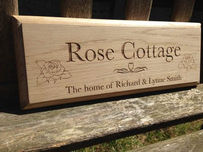 personalised oak sign rose cottage
