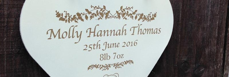personalised christening signs heart