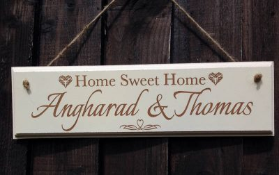 personalised home sign indoor