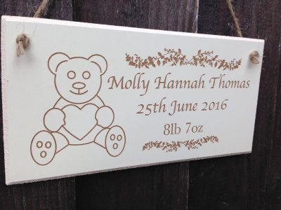 personalised wooden christening signs 2