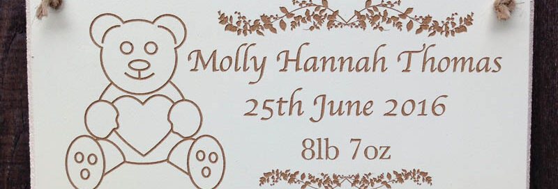 personalised wooden christening signs