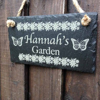 peronalised garden sign in slate w1
