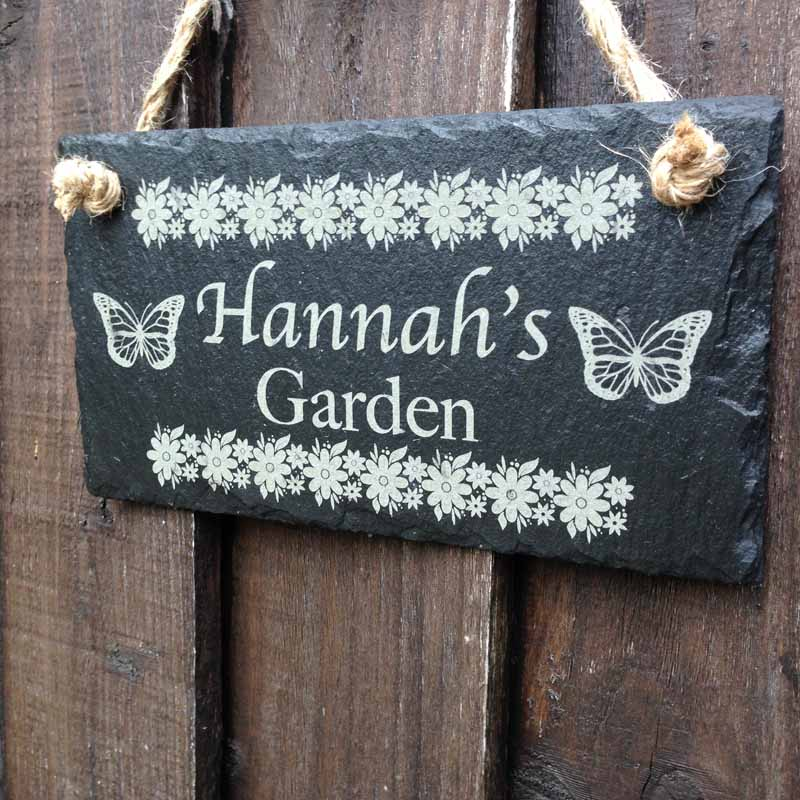 Personalised Garden Sign With Flower Designs