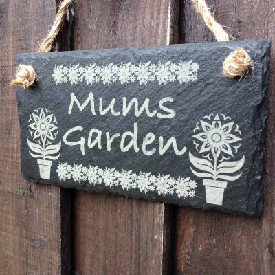 slate garden signs with flowers