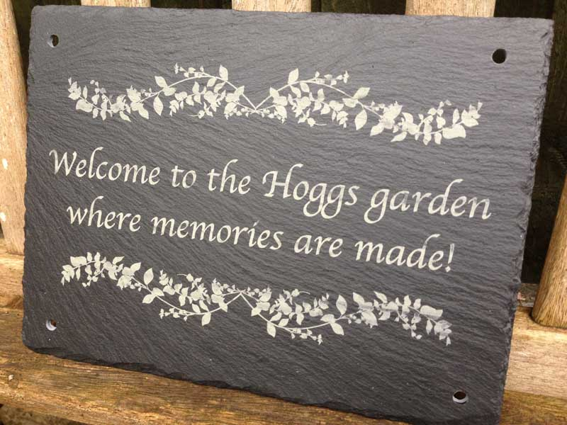 Large Floral Garden Sign In Slate Personalised Garden Signs Design A Sign Personalised Signs For The Garden Home And Weddings Garden Shed Signs Memorial Signs