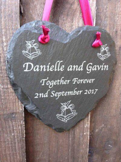 wedding sign slate hearts